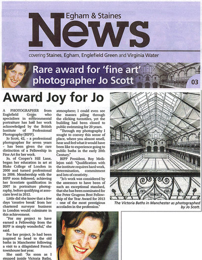 Press coverage of fine art photography award